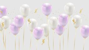 Świętowanie projekt z balonowym koloru różowym i białym pastelem, royalty ilustracja