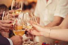 Świętowanie Ręki trzyma szkła szampana i wina robić grzanka fotografia stock