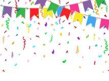 Świętowanie sztandar przyjęcie flaga z confetti na białym tle również zwrócić corel ilustracji wektora Obrazy Royalty Free