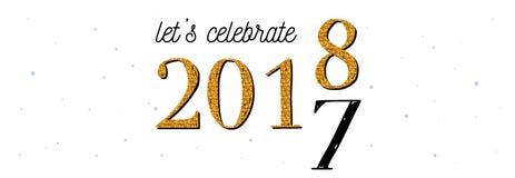 2018 świętowanie sztandar złoto 2017 liczy kręcenie 2018 na białym tle Fotografia Royalty Free