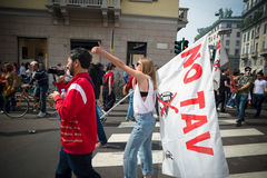 Świętowanie trzymający w Mediolan na 25 2014 Kwietniu wyzwolenie Obrazy Stock