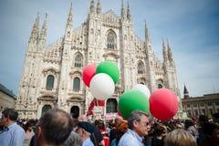 Świętowanie trzymający w Mediolan na 25 2014 Kwietniu wyzwolenie Obrazy Royalty Free