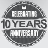 Świętujący 10 rok rocznicowej retro etykietki, wektorowy illustratio Obrazy Stock