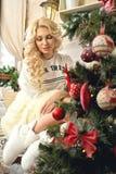 świętuje świętowania bożych narodzeń córki kapeluszy macierzysty Santa target2744_0_ Zdjęcie Stock