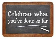 Świętuje czemu robiłeś do tej pory ty - blackboard Zdjęcia Stock