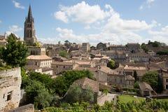 Święty Emilion, bordowie/Francja - 06 19 2018: Bordoski wino wysyła winnicę świętego Prestiżowy unesco Fotografia Royalty Free