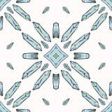 Święty Ezoteryczny Kwarcowego kryształu wektoru Magiczny Bezszwowy wzór ilustracja wektor