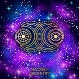 Święty geometria emblemat z księżyc, słońcem i okiem, ilustracji