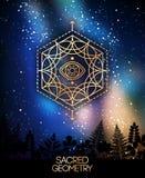 Święty geometria emblemat z okiem w sześciokącie ilustracji