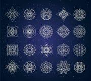 Święty geometria kontur kształtuje wektoru set royalty ilustracja