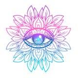 Święty geometria symbol z wszystkie widzii okiem w zjadliwych kolorach Mysti ilustracja wektor