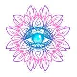Święty geometria symbol z wszystkie widzii okiem w zjadliwych kolorach Mysti ilustracji