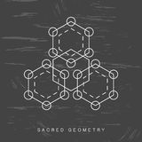 Święty geometria znak na czarnym grunge tle ilustracja wektor