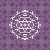 Święty geometria znak na geometrycznym abstrakcjonistycznym tle Abstrakcjonistyczny wektoru wzór Zdjęcia Royalty Free