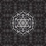 Święty geometria znak na geometrycznym abstrakcjonistycznym tle Abstrakcjonistyczny wektoru wzór Tajemnicza odznaka elementy proj Zdjęcie Royalty Free