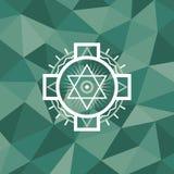 Święty geometria znak na poligonalnym abstrakcjonistycznym tle ilustracji