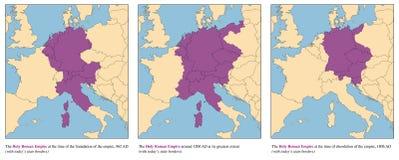Święty imperium rzymskie historii mapy wzrost I spadek royalty ilustracja
