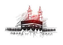 Święty Kaaba w mekce Arabia Saudyjska, ręka Rysujący nakreślenie wektor ilustracja wektor