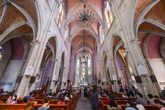święty katedralny serce jest Gocka Odrodzeniowa Rzymskokatolicka katedra w Guangzhou, Chiny Obraz Royalty Free