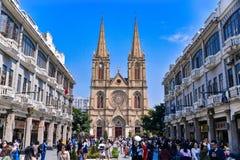 święty katedralny serce jest Gocka Odrodzeniowa Rzymskokatolicka katedra w Guangzhou, Chiny Obraz Stock