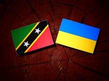 Święty Kitts i Nevis flaga z kniaź zaznaczamy na drzewnym fiszorku mnie Obraz Royalty Free