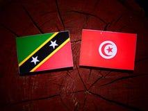 Święty Kitts i Nevis flaga z tunezyjczyk flaga na drzewnym fiszorku jesteśmy Obraz Stock