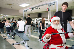Święty Mikołaj ćwiczyć Fotografia Royalty Free