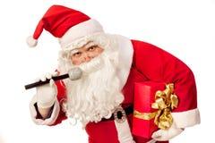 Święty Mikołaj śpiewać Zdjęcia Stock
