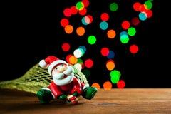 Święty Mikołaj światła i bokeh, Obraz Royalty Free