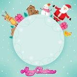 Święty Mikołaj, bałwan I renifer Na okrąg ramie, royalty ilustracja