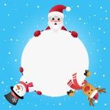 Święty Mikołaj, bałwanu i renifera zerkanie za od białego okręgu, Obraz Stock