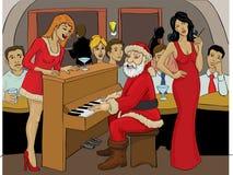 Święty Mikołaj bawić się pianino royalty ilustracja