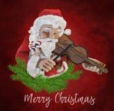 Święty Mikołaj bawić się skrzypce Zdjęcia Royalty Free