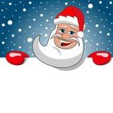 Święty Mikołaj billboardu Bożenarodzeniowego znaka Śnieżny Gwiaździsty niebo Fotografia Stock