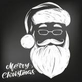 Święty Mikołaj, Bożenarodzeniowa ręka rysujący symbolu wektorowy ilustracyjny nakreślenie rysujący w kredzie na czarnej desce, royalty ilustracja