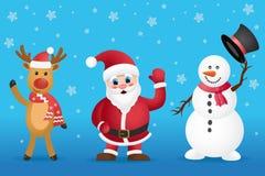Święty Mikołaj, Bożenarodzeniowy rogacz i bałwan pozycja na błękitnym tle, Obrazy Stock