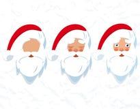 Święty Mikołaj broda i kapelusz Rysować głowa ilustracja ilustracja wektor