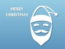 Święty Mikołaj broda na błękitnym tle i kapelusz ilustracja wektor