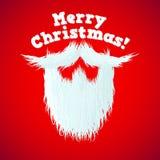 Święty Mikołaj broda z włosy i Wesoło bożych narodzeń pisać list ilustracja wektor