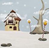 Święty Mikołaj chałupa ilustracji