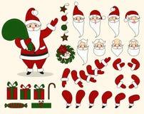 Święty Mikołaj charakteru animaci set Ilustracja Wektor