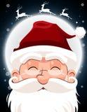 Święty Mikołaj charakteru biała broda i wąsy w tradycyjnym Bożenarodzeniowym wakacje na nighttime tle ilustracji