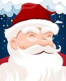Święty Mikołaj charakteru biała broda i wąsy w tradycyjnym Bożenarodzeniowym wakacje na nighttime tle royalty ilustracja