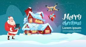 Święty Mikołaj chwyt Usuwa kontrolera trutnia dostawy teraźniejszość, nowy rok boże narodzenia Wakacyjni royalty ilustracja