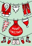 Święty Mikołaj clothesline, wektorowa kartka bożonarodzeniowa Obrazy Stock