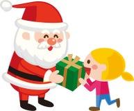 Święty Mikołaj daje Bożenarodzeniowym teraźniejszość dzieci również zwrócić corel ilustracji wektora Płaski projekt Śliczny posta royalty ilustracja
