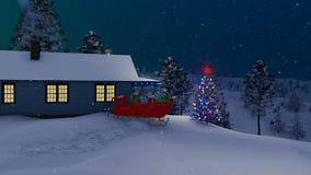 Święty Mikołaj dom dekorujący dla bożych narodzeń przy nocą royalty ilustracja