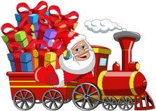 Święty Mikołaj Dostarcza prezent kontrpary pociąg ilustracji