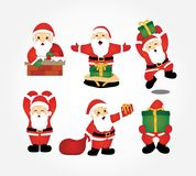 Święty Mikołaj dowiezienia prezentów wektoru kolekcja ilustracja wektor