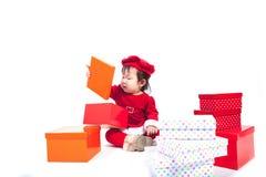 Święty Mikołaj dziewczynka Zdjęcia Royalty Free